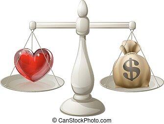 Love or money concept