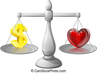 Love or money scales, scales with a dollar sign on one side ...