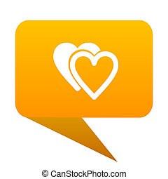love orange bulb web icon isolated.