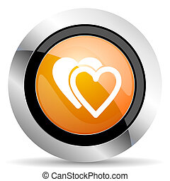 love orange icon sign hearts symbol