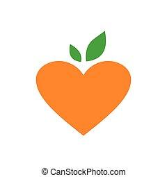love orange logo icon vector