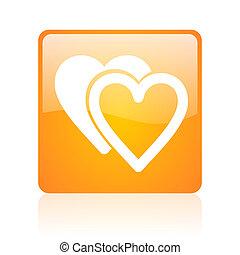 love orange square glossy web icon