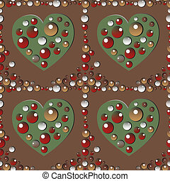 Love ornament - Seamles jewelery brown pattern with hearts,...