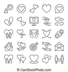 Love outline icons set. Vector collection of Heart linear symbols