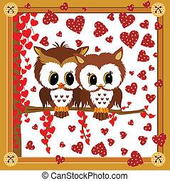 Love owls framed valentine