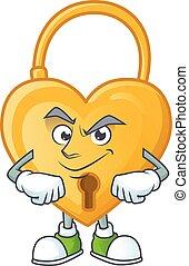 Love padlock mascot cartoon character style with Smirking face