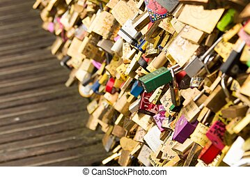 Love Padlocks - Padlocks on Paris Bridge as Sign of Love