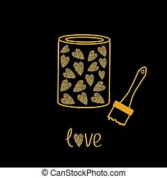 Love paint with hearts inside. Brush. Gold sparkles glitter texture Black background