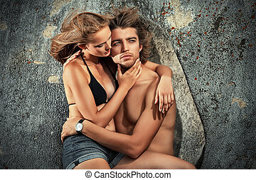 love pair - Beautiful young couple in love having holidays...