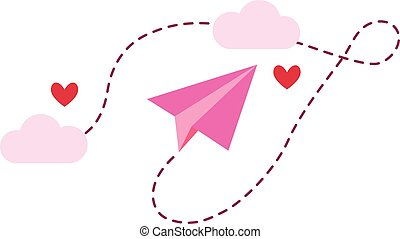 Love paper plane isolated