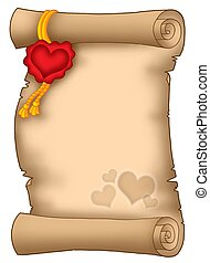 Love parchment - Color illustration of parchment with heart...