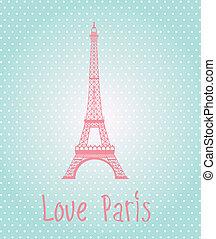 Love Paris label over blue background vector illustration