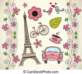 Love Paris background with differents icons vector...