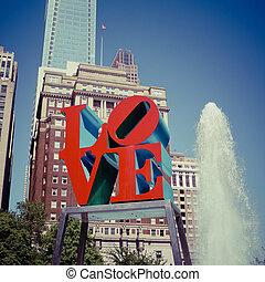 Love Park - PHILADELPHIA - MAY 25, 2014: Love Park in...