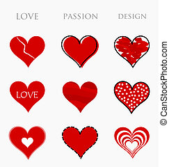 Love, passion and design hearts - Collection of red hearts. ...