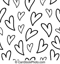 Love pattern with black hearts on white background. Vector illustration