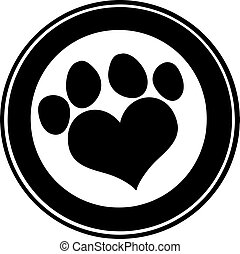 Love Paw Print Black Circle Banner