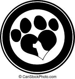 Love Paw Print Black Circle Banner