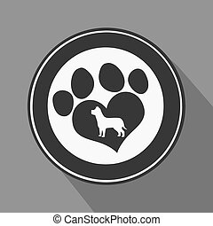 Love Paw Print Black Circle Icon