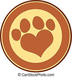 Love Paw Print Brown Circle Banner