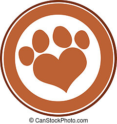 Love Paw Print Brown Circle Banner