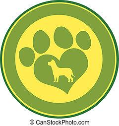 Love Paw Print Circle Banner