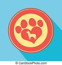 Love Paw Print Circle Icon