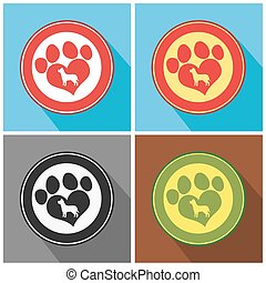 Love Paw Print. Collection Set
