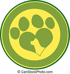 Love Paw Print Green Circle Banner