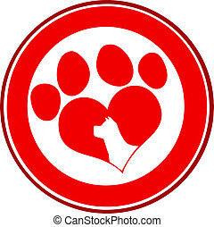 Love Paw Print Red Circle Banner