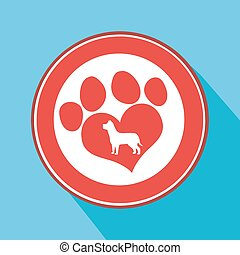 Love Paw Print Red Circle Icon