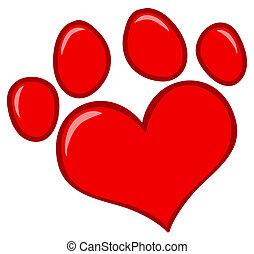 Love Paw Print - Red Heart Shaped Dog Paw Print