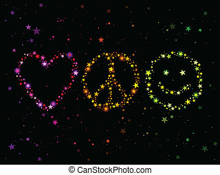 Love peace and happiness - Constellations forming love,...