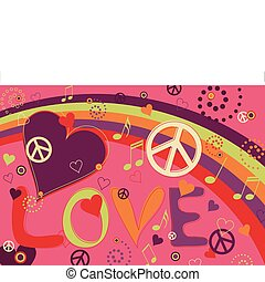Love Peace and Hearts - Abstract concept collage of hearts,...