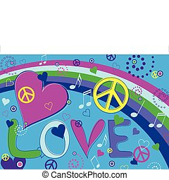 Love Peace and Hearts - Abstract concept collage of hearts, ...