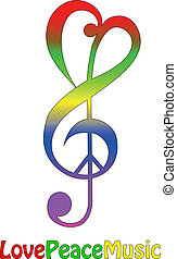 Love peace and music, isolated