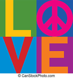 Type design of LOVE with a Peace Symbol in a stacked color-block design. Type style is my own creation.