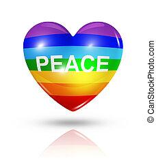 Love peace, heart flag icon