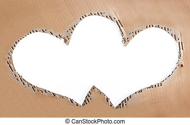 love photo frame made of cardboard - torn cardboard love...
