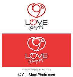 Love photography logo design. Minimal camera icon heart shaped.
