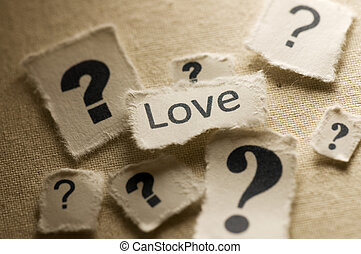 Love - Picture of a word love with question marks.