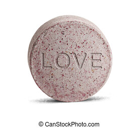 Love Pill - Pink Love Potion medicine isolated on a white ...
