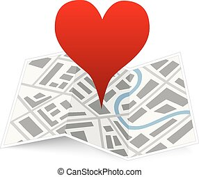 Love pin on map gps location icon isolated on white - Love...