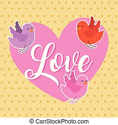 love pink heart and birds flying card