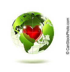 love planet - empty green planet with a red heart inside
