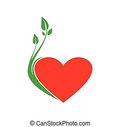 love plant flat icon logo