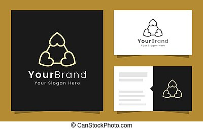 Love play logo design concept with gold color