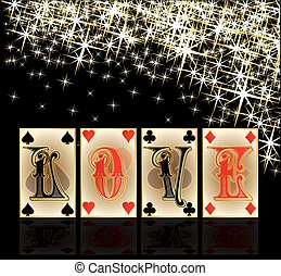Love poker casino cards, vector