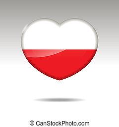 Love POLAND symbol. Heart flag icon.