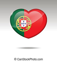 Love Portugal symbol. Heart flag icon.